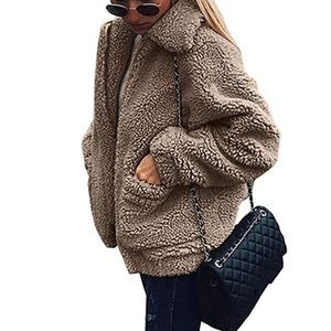 Jackets & Blazers - Faux Shearling Shaggy Oversized Coat Jacket